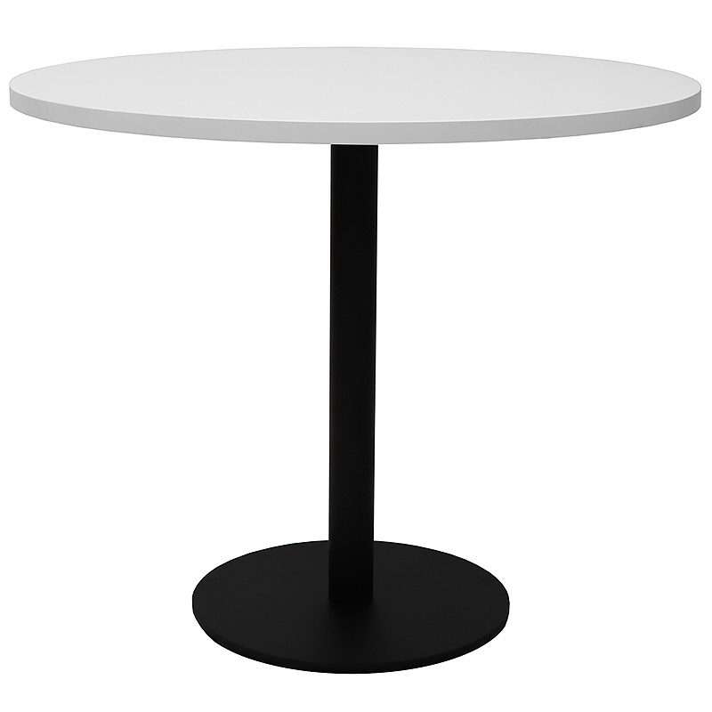 Stacey Round Meeting Table, Natural White Table Top, Black Table Base