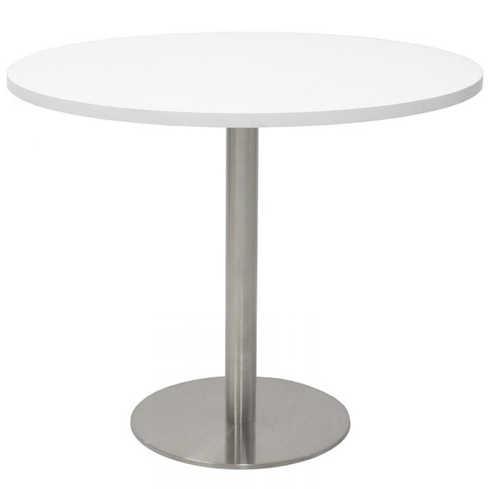 Stacey Round Meeting Table, Natural White Table Top, Stainless Steel Table Base