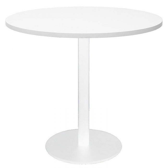 Stacey Round Meeting Table, Natural White Table Top, White Table Base