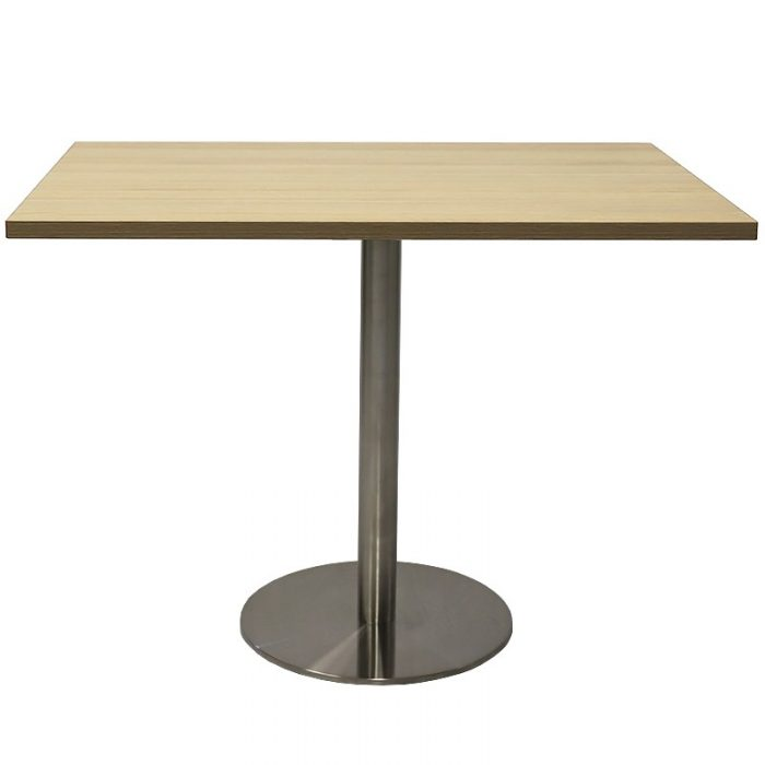 Stacey Square Meeting Table, Natural Oak Table Top, Stainless Steel Table Base