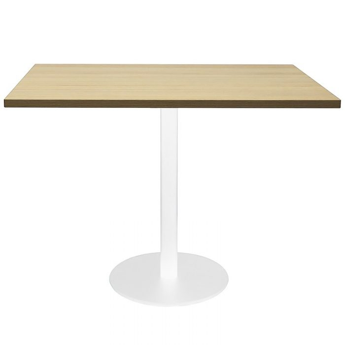 Stacey Square Meeting Table, Natural Oak Table Top, White Table Base