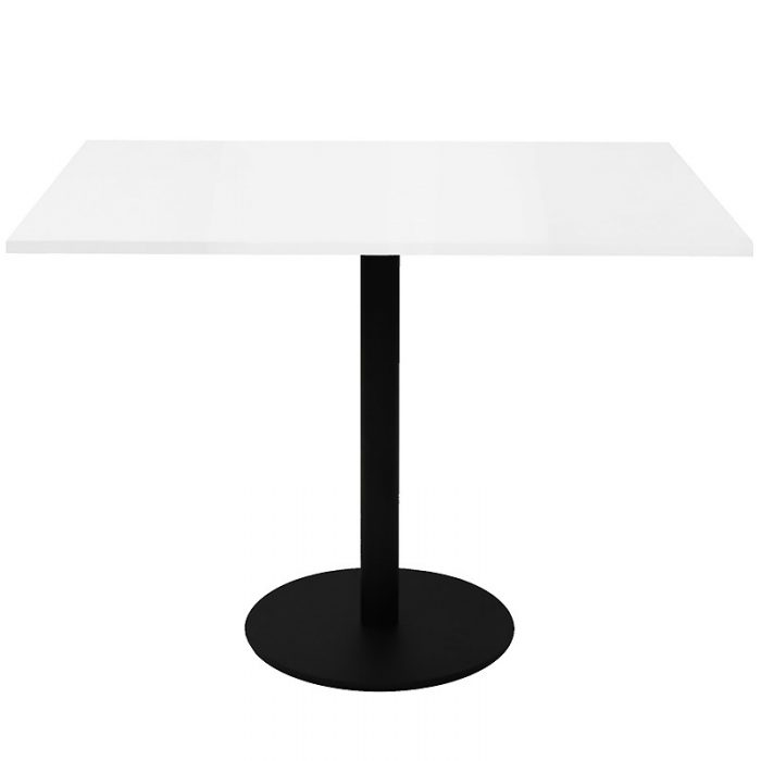 Stacey Square Meeting Table, Natural White Table Top, Black Table Base