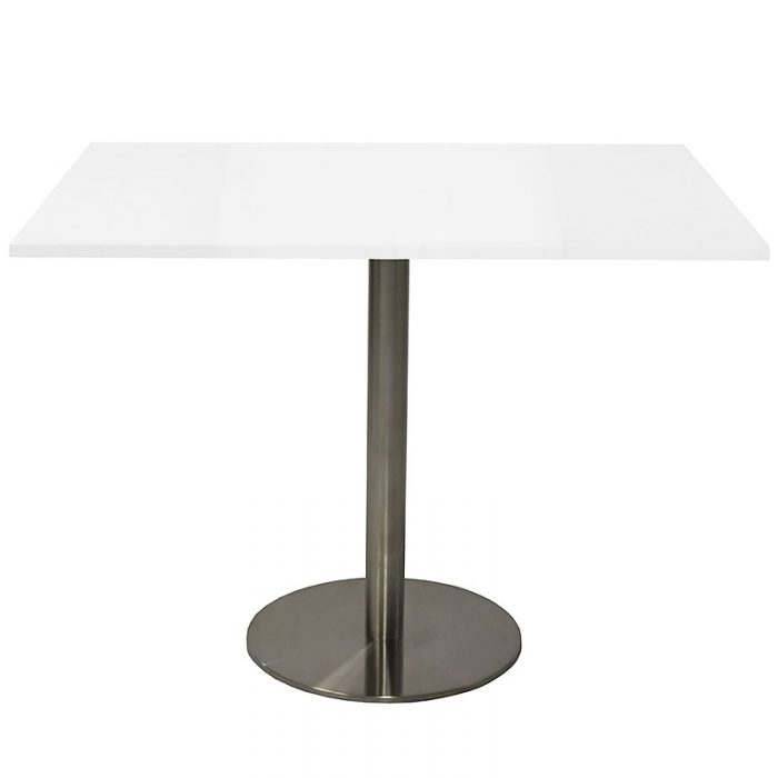 Stacey Square Meeting Table, Natural White Table Top, Stainless Steel Table Base