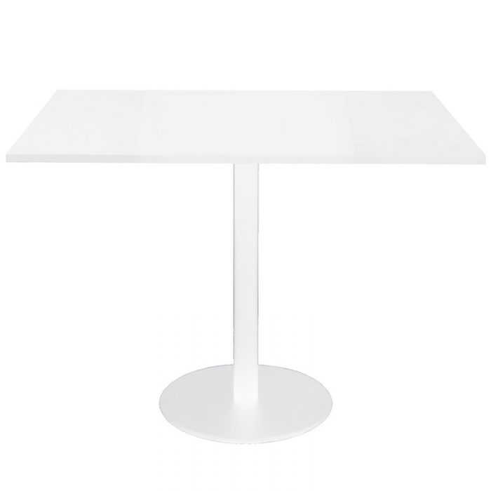 Stacey Square Meeting Table, Natural White Table Top, White Table Base
