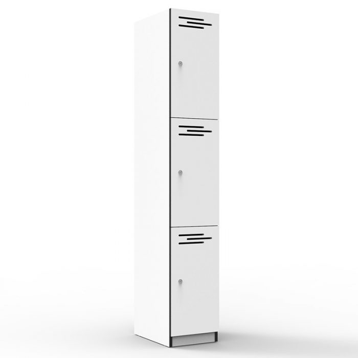 Elite Melamine Three Door Locker, Natural White