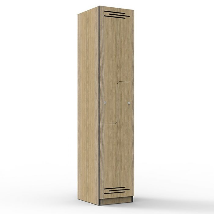 Elite Melamine Two Stepped Door Locker, Natural Oak