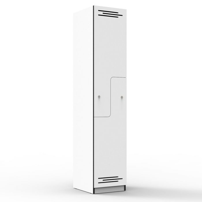Elite Melamine Two Stepped Door Locker, Natural White