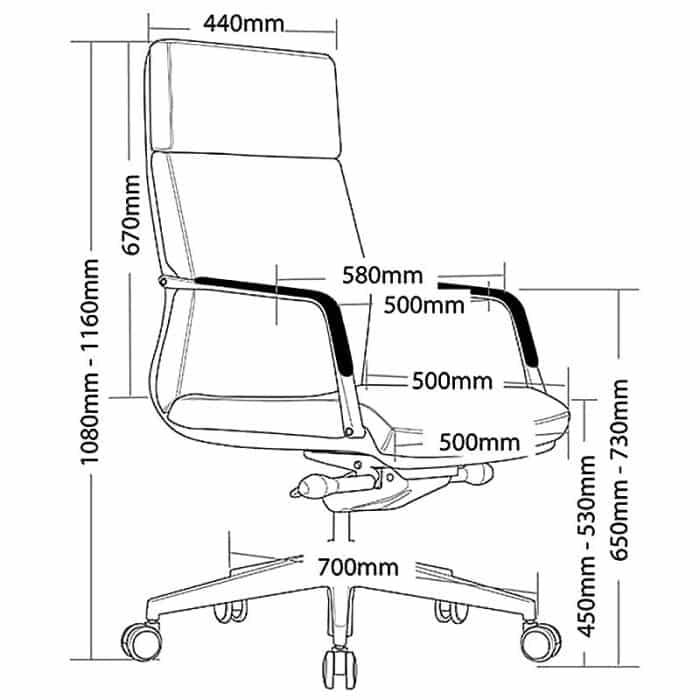 Sofia High Back Chair, Dimensions