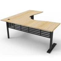 Space System Deluxe Corner Workstation, Natural Oak Desk Top, Satin Black Under Frame