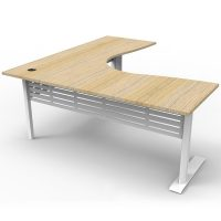 Space System Deluxe Corner Workstation, Natural Oak Desk Top, Satin White Under Frame
