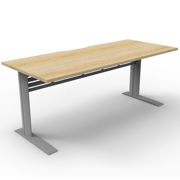 Space System Deluxe Desk, Natural Oak Desk Top, Satin Silver Under Frame