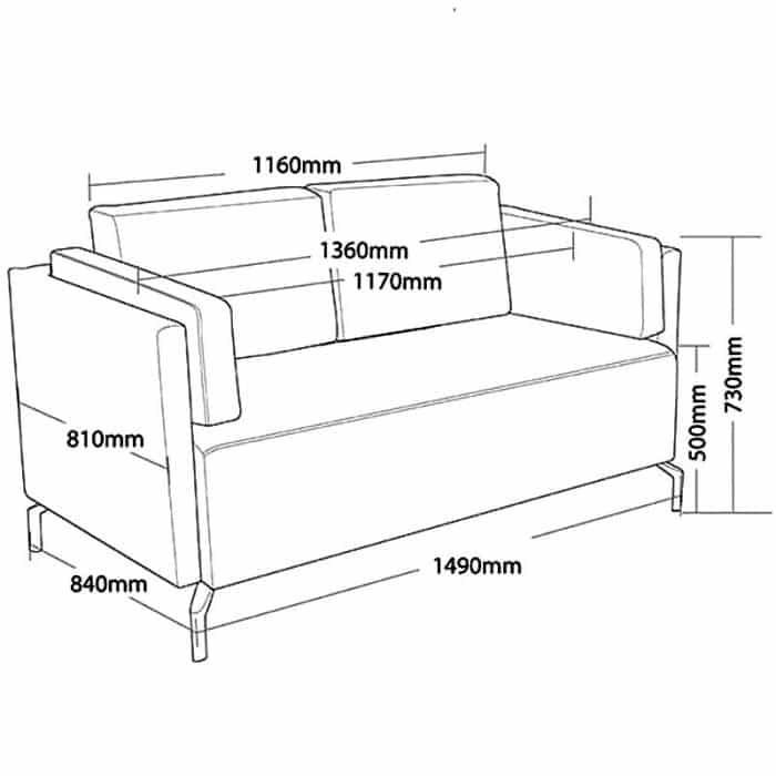 Viva 2 Seater Lounge, Dimension