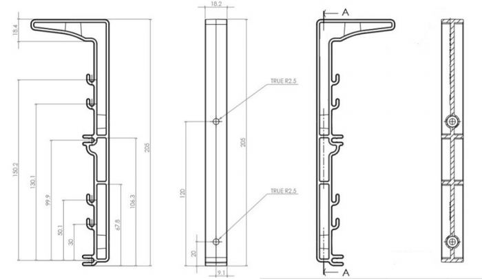CAD Drawing - Dual Tier Cable Basket Bracket