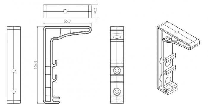 CAD Drawing - Single Tier Cable Basket Bracket