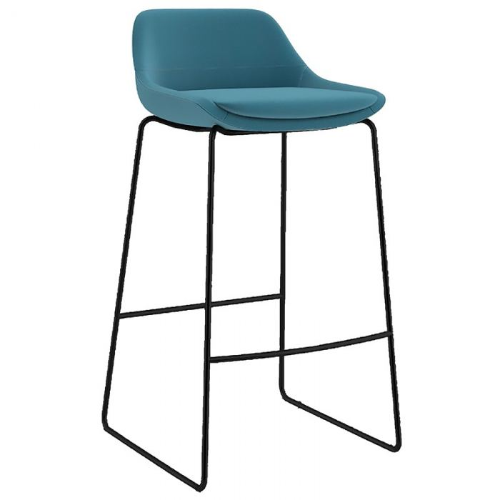 Fabric bar stool with black frame