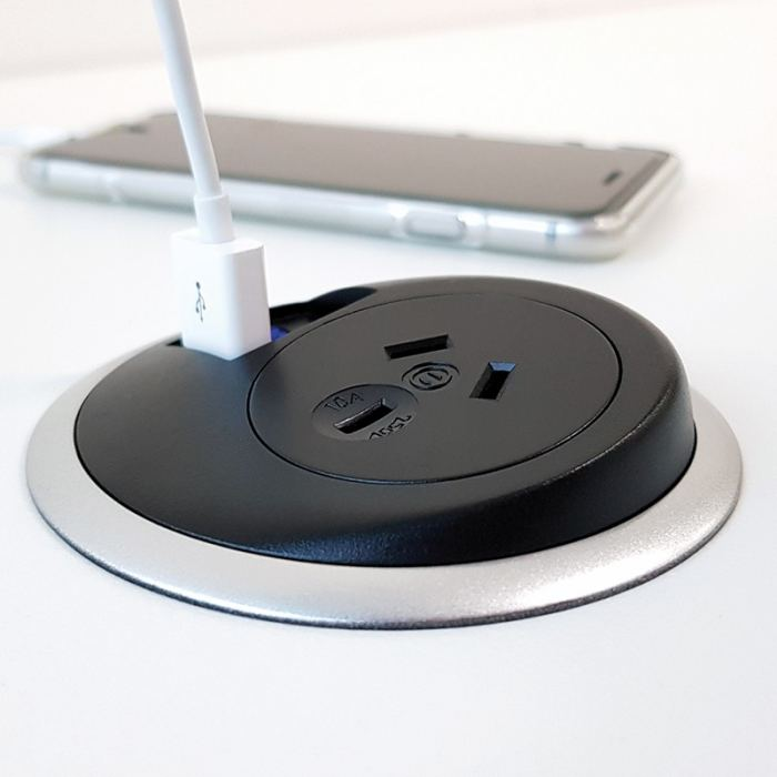 Black In desk power unit