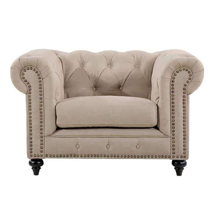 Linen Chesterfield Chair