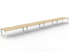 Elite-Desk-4-Person-In-Line-Natural-Oak-Desk-Tops-White-Under-Frame-No-Screen-Dividers